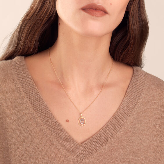 18ct Gold Diamond Initial C Necklace | Annoushka jewelley