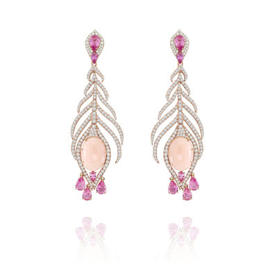 Sutra Coral & Sapphire Earrings