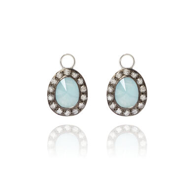 Dusty Diamonds 18ct White Gold Aquamarine Earring Drops