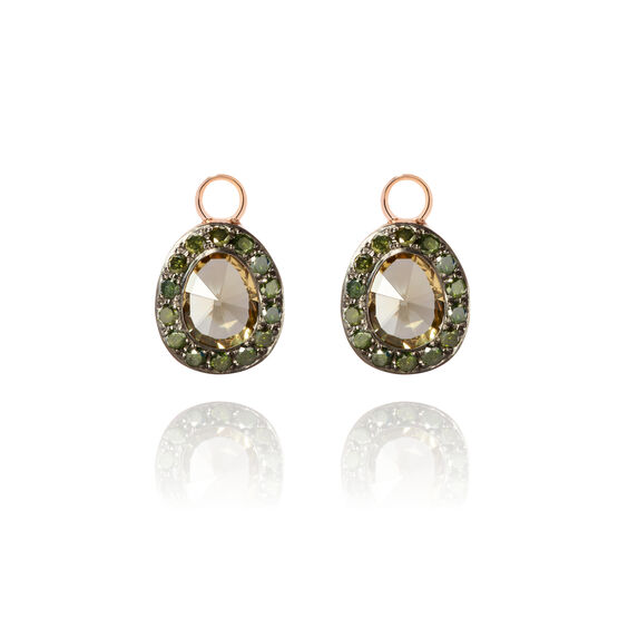Dusty Diamonds 18ct Rose Gold Olive Quartz Earring Drops | Annoushka jewelley