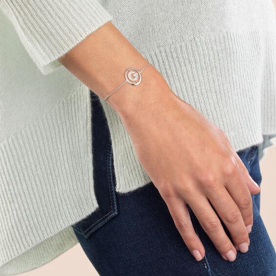18ct White Gold Diamond Initial G Bracelet