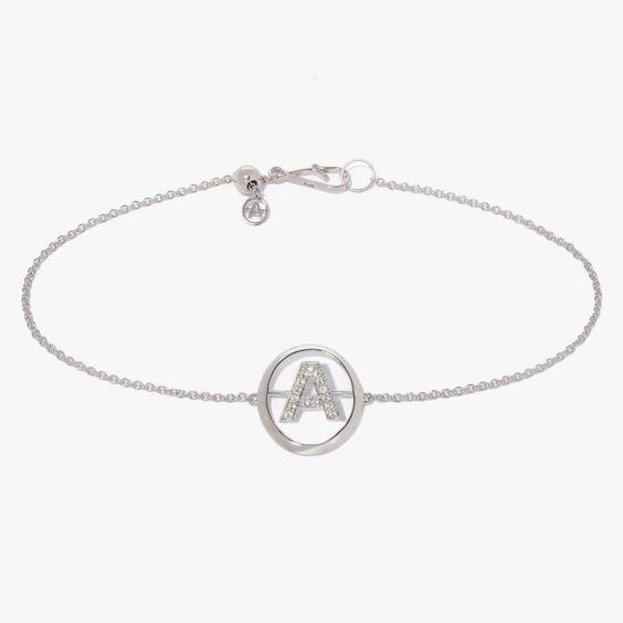 18ct White Gold Diamond Initial A Bracelet | Annoushka jewelley