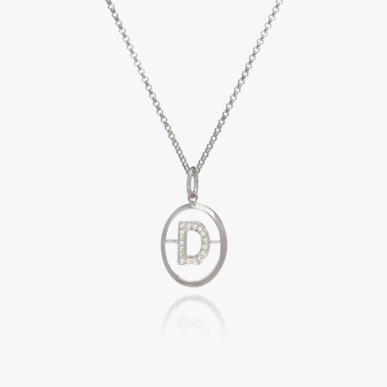 18ct White Gold Diamond Initial D Necklace | Annoushka jewelley