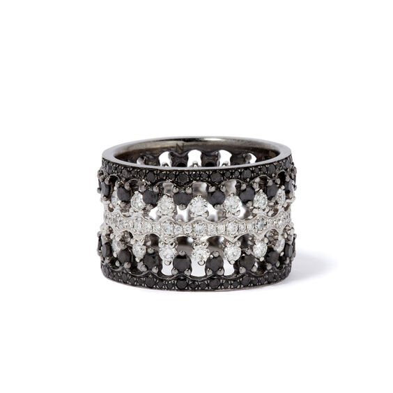 Crown Interlaced Black Diamond Ring Stack in 18ct White Gold