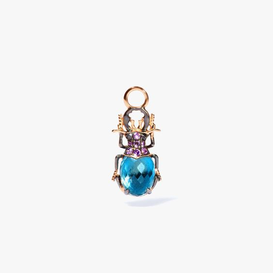 Mythology 18ct Rose Gold Topaz Beetle Single Earring Drop | Annoushka jewelley