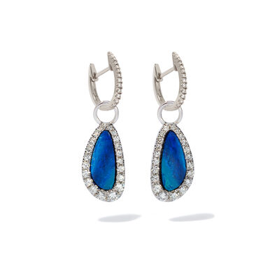 18ct White Gold Diamond Opal Earrings