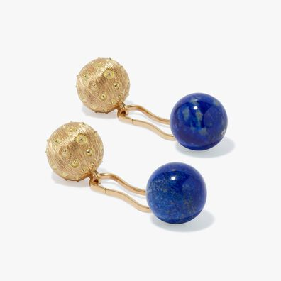 A Pair of 18ct Gold Lapiz Lazuli Cufflinks