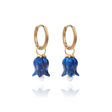 18ct Gold Lapis Lazuli Tulip Earrings