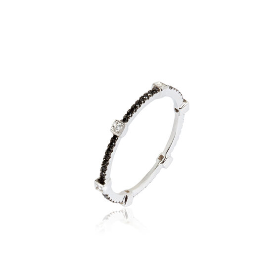 Pavilion 18ct White Gold Black Diamond Eternity Ring | Annoushka jewelley