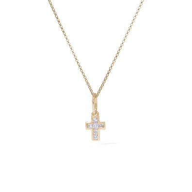 Tokens 14ct Gold White Sapphire Cross Necklace