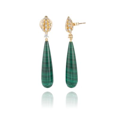 Topiary 18ct Yellow Gold Malachite Earrings