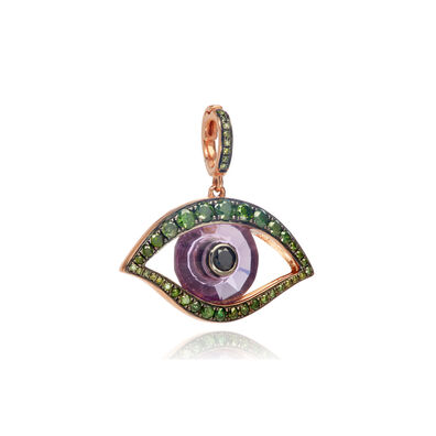 Mythology 18ct Rose Gold Amethyst Evil Eye Charm