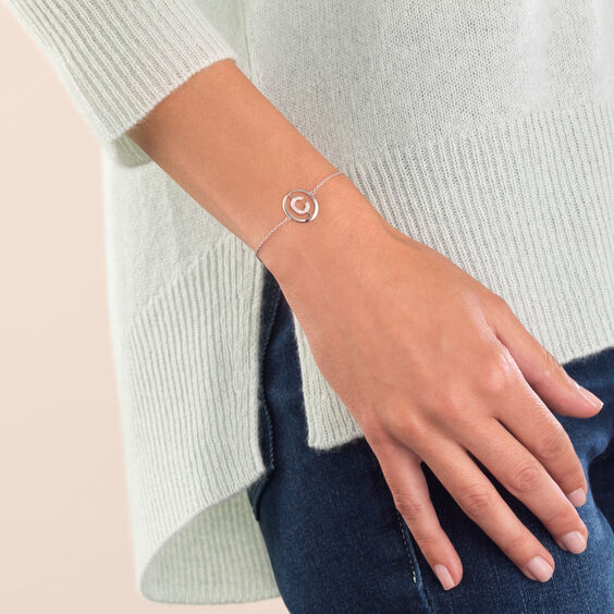 18ct White Gold Diamond Initial C Bracelet