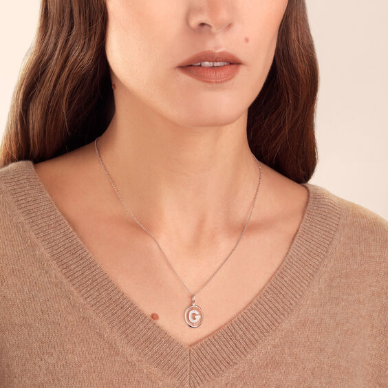 18ct White Gold Diamond Initial G Necklace | Annoushka jewelley