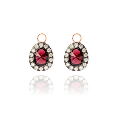 Dusty Diamonds 18ct Rose Gold Rhodolite Garnet Earring Drops