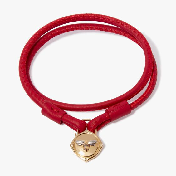 Lovelock 18ct Gold 41cms Red Leather Bee Charm Bracelet