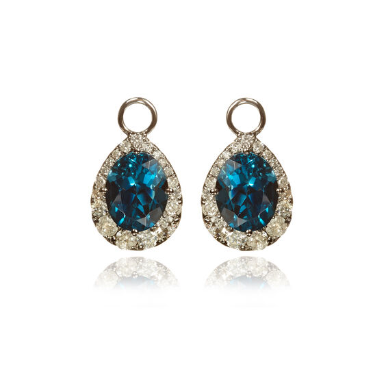 18ct White Gold Topaz Diamond Earring Drops