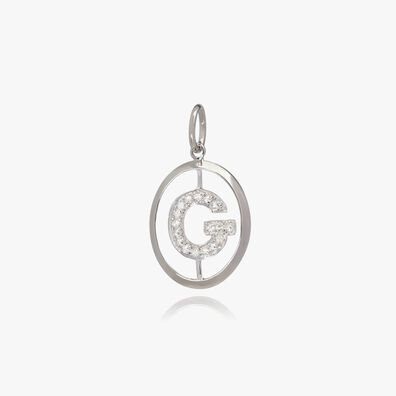 18ct White Gold Initial G Pendant