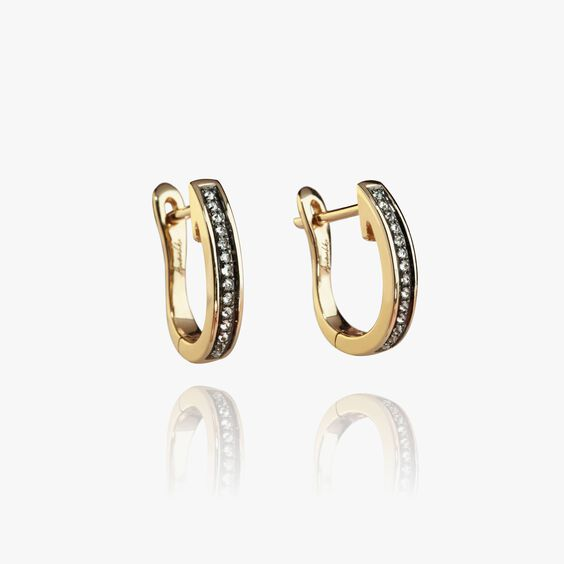 Eclipse 18ct Gold Porcupine Diamond Hoop Earrings | Annoushka jewelley