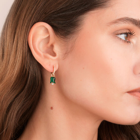 18ct Gold Malachite Pearl Tulip Earrings | Annoushka jewelley