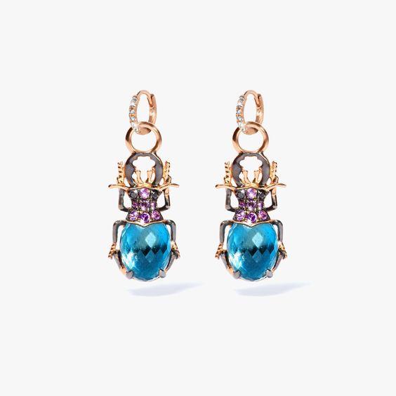 Mythology 18ct Rose Gold Topaz Beetle Earring Drops
