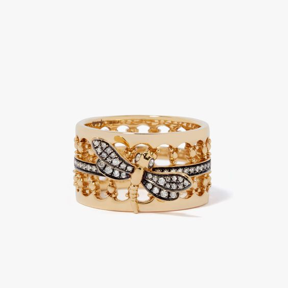 Dragonfly Diamond Crown Ring in 18ct Yellow Gold