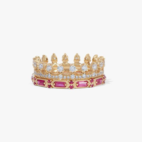18ct Gold Pink Sapphire Crown Baguette Ring Stack
