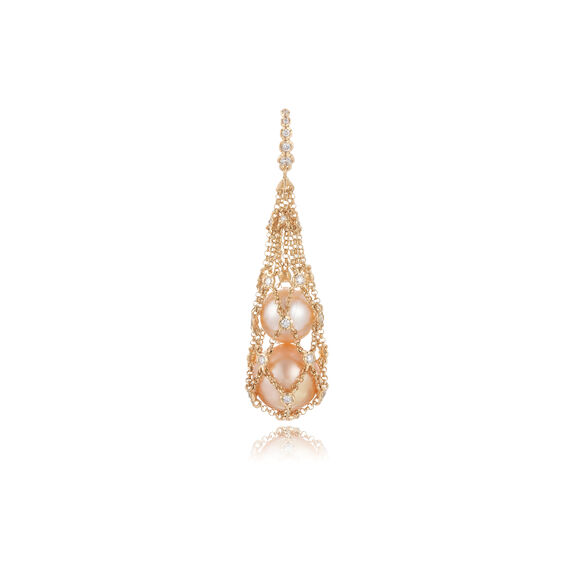 Lattice 18ct Gold Diamond Net Pendant