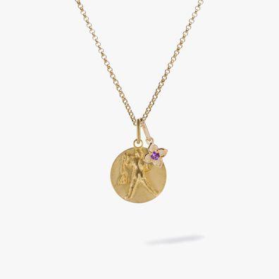 Gold Aquarius & Amethyst February Birthstone Necklace
