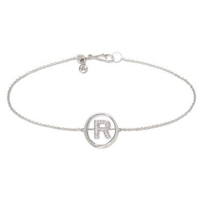 18ct White Gold Diamond Initial R Bracelet