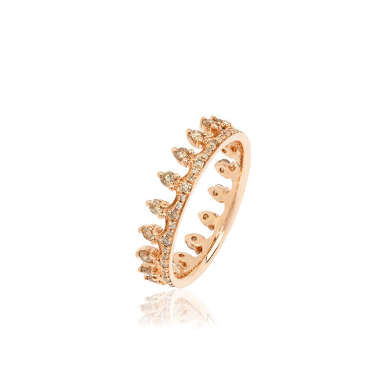 Crown 18ct Rose Gold Diamond Ring