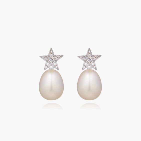 18ct White Gold Diamond Pearl Star Earrings