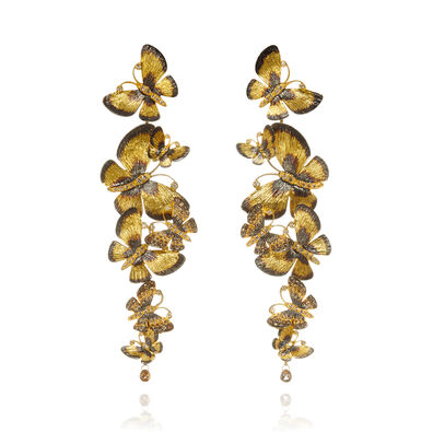 Butterflies 18ct Gold Diamond Chandelier Earrings
