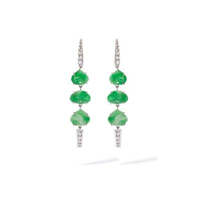 Unique 18ct White Gold Jade Diamond Drop Earrings