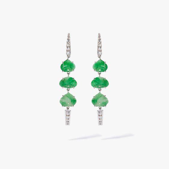 Unique 18ct White Gold Jade Diamond Drop Earrings | Annoushka jewelley
