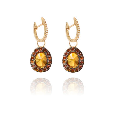 Dusty Diamonds 18ct Gold Citrine Earrings