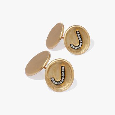 18ct Satin Gold Diamond Initial J Cufflinks