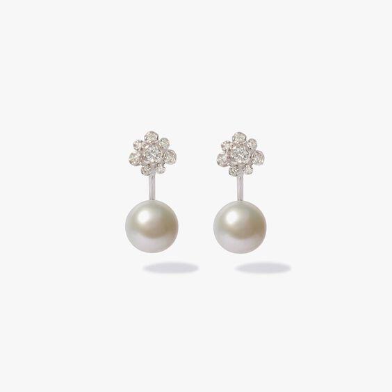 Marguerite 18ct White Gold Diamond Pearl Earrings