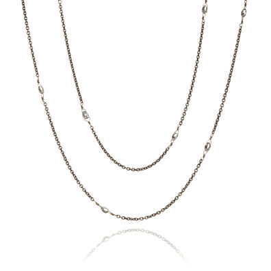Eclipse 18ct White Gold Diamond Briolette Chain