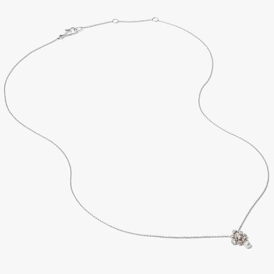 Marguerite 18ct White Gold Diamonds & Pearl Necklace | Annoushka jewelley