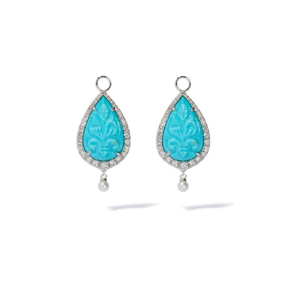 Unique 18ct White Gold Turquoise & Pearl Earrings | Annoushka jewelley