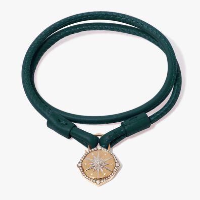 Lovelock 18ct Gold 41cms Green Leather Star Charm Bracelet