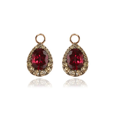 18ct Rose Gold Garnet Diamond Earring Drops