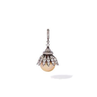18ct White Gold South Sea Golden Pearl Pendant