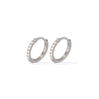 Dusty Diamonds 18ct White Gold Diamond 12mm Hoops