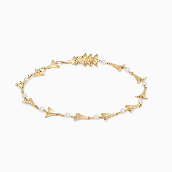 18ct Gold Pearl Lovebirds Bracelet