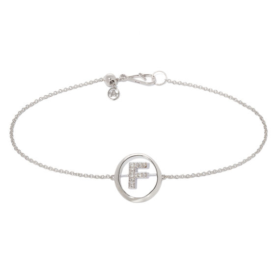 18ct White Gold Diamond Initial F Bracelet