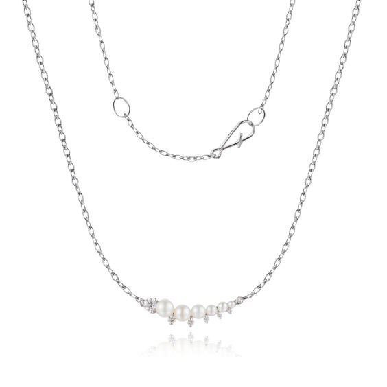 Diamonds & Pearls 18ct White Gold Necklace: An Online Exclusive