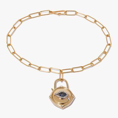 Lovelock 14ct Gold Mini Cable Chain Evil Eye Charm Bracelet