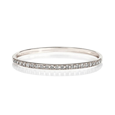 Dusty Diamonds 18ct White Gold Diamond Line Bangle
